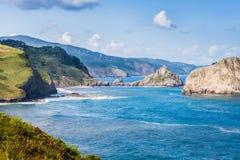 Basque coast. View of the Basque coast with Gaztelugatxe Chapel stock images