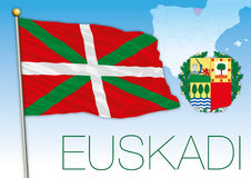 Basque country flag, coat of arms and map Royalty Free Stock Image