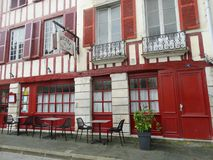 Traditional Restaurant in Beatiful Town at Basque Country. Basque country Restaurant facade, Bayonne France - autumn 2018 royalty free stock photography