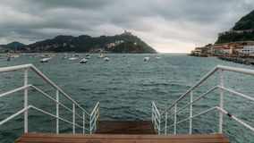 Famous beach of La Concha seen from the pier in Donostia San Sebastian, the coastal city on the Bay of Biscay Stock Photography