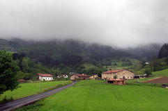 Basque country village with typically basque houses and rainy we Stock Photography