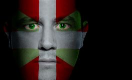 Basque Flag - Male Face. Basque flag painted/projected onto a man's face Stock Photography
