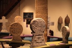 Basque funeral steles of the ethnological museum of Baiona. Basque funeral stelae of the ethnological museum of Baiona, Basque Country Stock Photo