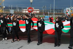Basque nationalist rally. Basque nationalists celebrate their national day, the Aberri Eguna. Basque nationalists wants to break off from Spain and France to Royalty Free Stock Image