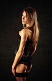 basque svart sexigt strumpakvinnabarn Royaltyfria Bilder