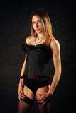 basque svart sexigt strumpakvinnabarn Royaltyfri Foto