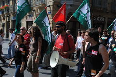 Basque trade union rally. A rally in the Basque town of San Sebastian (Donostia) during a general strike in the Basque Country Stock Image