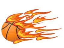 Basquetebol com flama ilustração stock