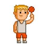Basquetebol da arte do pixel no fundo branco Fotografia de Stock Royalty Free