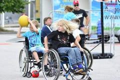 Basquetebol de cadeira de rodas Imagens de Stock
