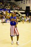Basquetebol dos Globetrotters de Harlem - tempo de vôo Lang Imagem de Stock Royalty Free