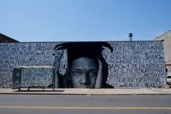 Basquiatgraffiti de stad in van Brooklyn, New York stock afbeeldingen