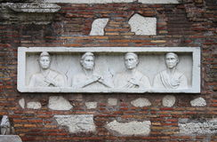 Basrelief in the Appian way of Rome Stock Photo