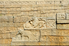 Basrelief artwork of Royal Enclosure temple at Hampi Stock Image