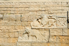 Basrelief artwork of Royal Enclosure temple at Hampi Stock Photography