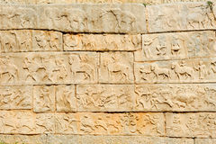 Basrelief artwork of Royal Enclosure temple at Hampi Royalty Free Stock Image