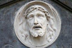 Basrelief av Jesus Face Arkivfoto