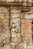 Basrelief forntida tempel för Ta Prohm, Angkor Thom, Siem Reap, Cambodja Royaltyfri Bild