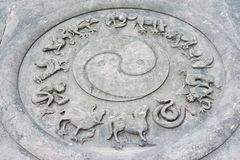Basrelief med det YinYang symbolet och tolv djur arkivfoton