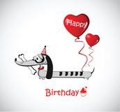 Bassê do cão do cartão do feliz aniversario Fotografia de Stock