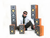 Bass. White wall, speakers with yellow bass Stock Images