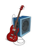 Bass and Amplifier illustration Royalty Free Stock Image
