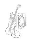 Bass and Amplifier illustration Royalty Free Stock Images