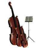 Bass cello and violin with music stand. 3D rendering of musical instruments bass cello and violin with music stand Royalty Free Stock Photos