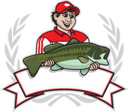 Bass Champion. Illustration of a professional fisherman holding a huge large mouth bass Stock Images