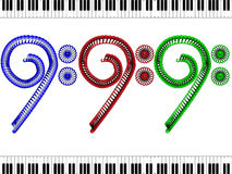 Bass clef - red, blue and green. Between keys Stock Photo