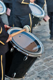 Bass Drum. Detail of the Bass drum in a parade by the streets of a town in Spain Stock Image