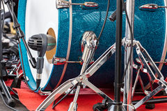 Bass drum of drum set with on the open air concert closeup. Blue bass drum of drum set with on the open air concert closeup Royalty Free Stock Photography