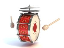 Bass drum instrument 3d illustration. On white Royalty Free Stock Image