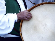 Bass drum. Man with a bass drum Royalty Free Stock Photo