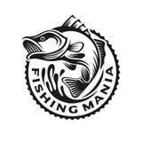 Bass fish logo template illustration monochrome. Vintage fishing sport emblems, labels and design elements. Vector illustration Stock Photos