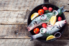 Bass fish in the pan Royalty Free Stock Images