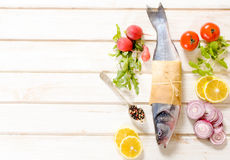 Bass fish and vegetables Stock Images