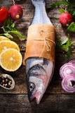 Bass fish and vegetables Royalty Free Stock Images
