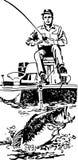 Bass Fisherman In Boat illustrazione vettoriale