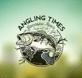 Bass Fishing emblem on blur background. Vector illustration. Fishing labels, badges, emblems and design elements. Illustrations of Bass stock illustration