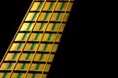 Bass fretboard. Close-up under stage lighting stock images