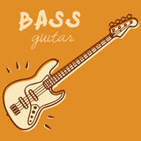 Bass guitar vector. Illustrations of an electric bass, retro style + vector eps file Royalty Free Stock Photos