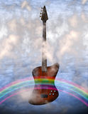 Bass Guitar. With clouds and rainbow Stock Image