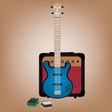 Bass guitar, amp and pedals Stock Photos