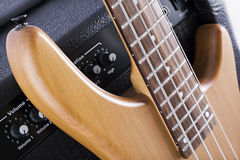 Bass guitar and amplifier stock photo