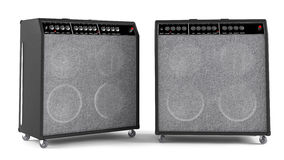 Bass guitar amplifier isolated. Two points of view Royalty Free Stock Photos