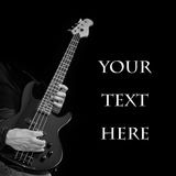 Bass guitar on black with place for text Royalty Free Stock Photos