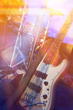 Bass guitar and drums. On stage before concert Stock Photography
