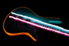 Hevy Rock Bass Guitar. Electric Bass Light Paint Style stock photography