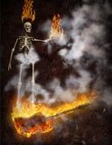 Bass Guitar in Fire. Burning bass guitar and skeleton holds flames. Human elements were created with 3D software and are not from any actual human likenesses Stock Image
